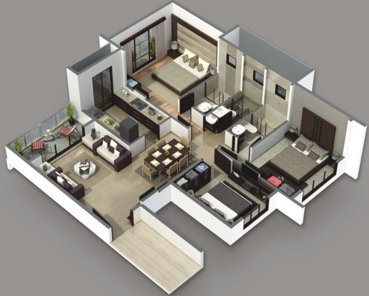 Marvelous House Plans 3 Bedrooms 3D | The Best Wallpaper Of The Furniture Simple House Plan With 4 Bedrooms 3D Picture
