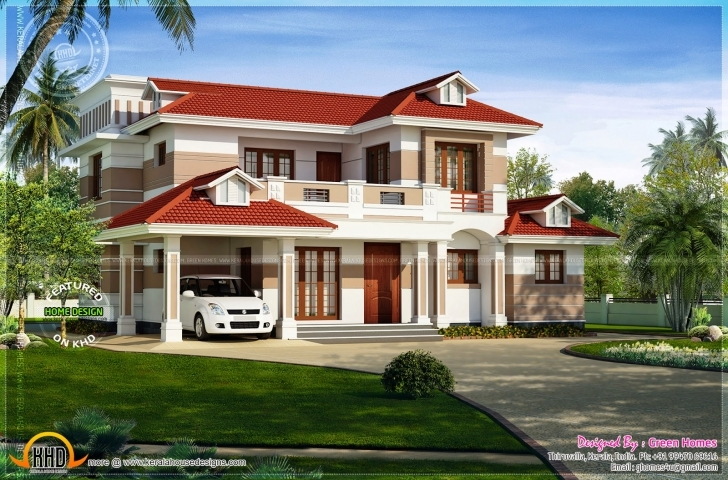 Marvelous Nice Red Roof House Exterior Indian Plans - House Plans | #84576 Painting Of House With Red Roof Pic