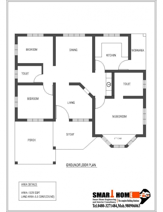 Most Inspiring 1320 Sqft Kerala Style 3 Bedroom House Plan From Smart Home Gf Plan 3Bedroom Bungalow Floor Plan In Karala Photo