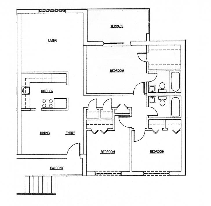 Most Inspiring 3 Bedroom 2 Bath Floor Plans Impressive With Photo Of 3 Bedroom Simple 3 Bedroom Building Plan Image