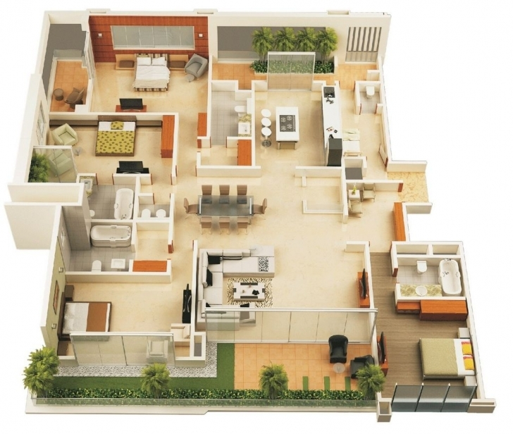 "Most Inspiring 50 Four ""4"" Bedroom Apartment/house Plans 