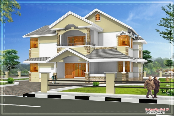 Most Inspiring Sloping Roof Kerala Villa Elevation - Building Plans Online | #53750 Kerala Elevation Residential House Plans Pic