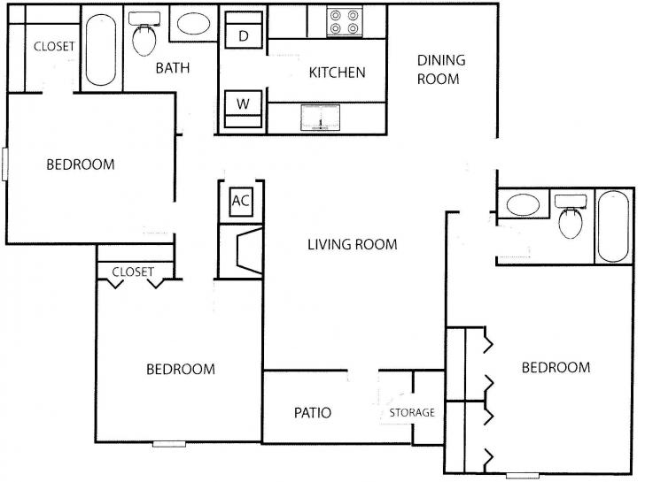 Most Inspiring Three Bedroom Flat Floor Plan - Homes Floor Plans Three Bedroom Floor Plan In Nigeria Image