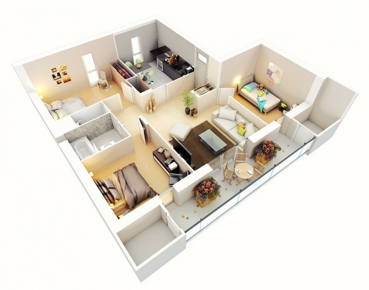 Most Inspiring Three Bedroom Flat Interior Designs Detailed Three Bedroom Flat Image Of Three Bedroom Flat Photo