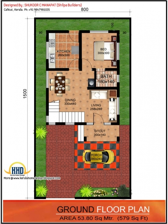 Must See 1062 Sq.ft. 3 Bedroom Low Budget House - Kerala Home Design And 15 By 60 House Map 3D Image