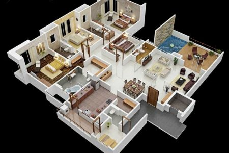 3D 4 Bedroom House Plan