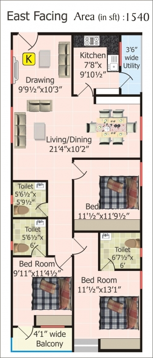 Must See Floor Plans For 20 X 60 House | Plan | Pinterest | House, Indian 20*60 House Plan 3D North Facing Pic
