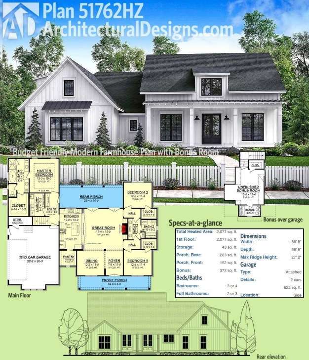 Must See Plan 51762Hz: Budget Friendly Modern Farmhouse Plan With Bonus Room Small Modern Farmhouse Plan Image