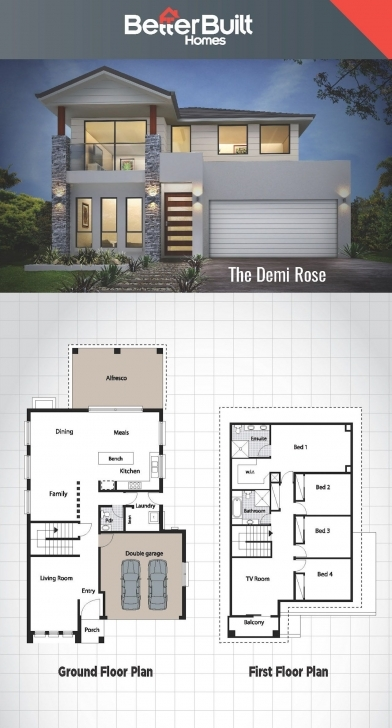 Must See The Demi Rose: Double Storey House Design #betterbuilt #floorplans 4 Bedroom Duplex On Half Plot Of Land Picture