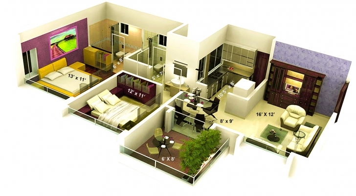 Outstanding 1000 Sq Ft House Plans Indian Style 3D — House Style And Plans 1000 Sq Ft House Plans 2 Bedroom Indian Style 3D Pic