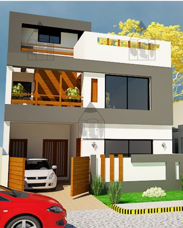 Outstanding 5 Marla House Front Design - Gharplans | Wewe | Pinterest | House 5 Marla Front Elevation Of House Photo