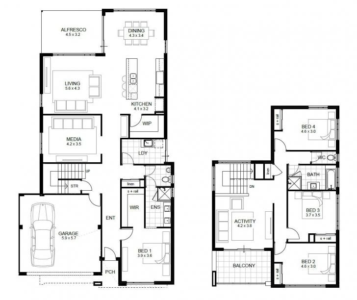 Outstanding Bedroom: Single Story 4 Bedroom House Plans Four Bedroom Floor Plans Single Story Photo