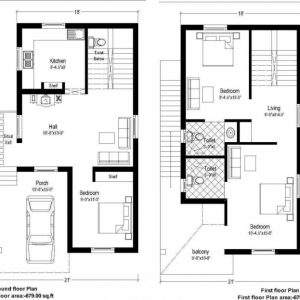 20 X 60 Duplex House Plans North Facing