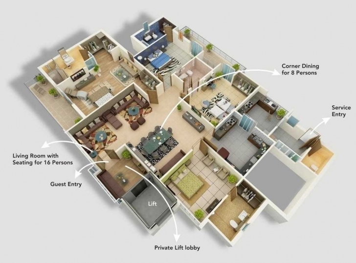 Outstanding House Design Plans Ideas And Fabulous 4 Bedroom Designs 3D Images 4 Bedroom Modern House Plans 3D Photo