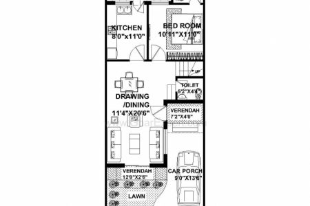 20*50 House Plan 4 Bhk