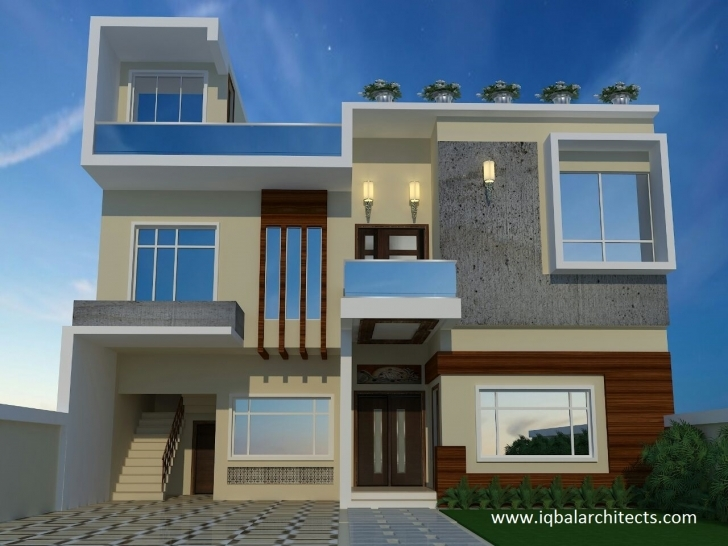 Outstanding Iqbal Architect's Servicesiqbal Architects Online Services 3D Front Elevation Of House In Punjab Image