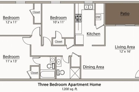 Simple Three Bedroom Flat Plan