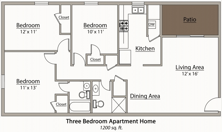 Outstanding Three Bedroom Apartment Floor Plans (Photos And Video Simple Three Bedroom Flat Plan Image