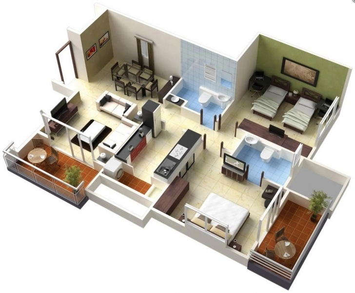 Outstanding Two Bedroom Houseapartment Floor Plans Ideas Double House Plan 3D House Plan 3D Images Photo