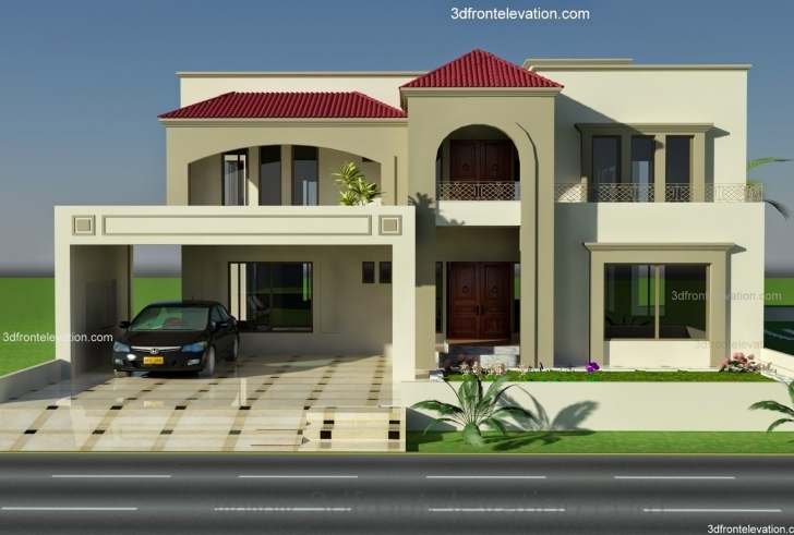 Picture of 1 Kanal Plot House Design Europen Style In Bahria Town, Lahore Front Elevation Of Houses In Pakistan Photo