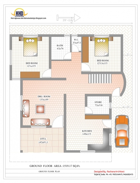 Picture of 1000 Sq Ft House Plans 2 Story Indian Style | The Best Wallpaper Of 1200 Sq Ft House Plan With Car Parking In Bangalore Photo