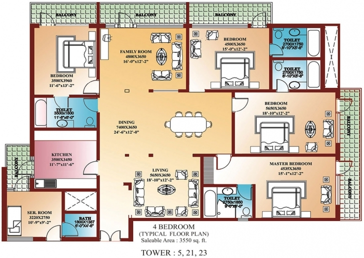 Picture of 4 Bedroom Luxury House Plans - Homes Floor Plans 4 Bedroom Flat Plan Image