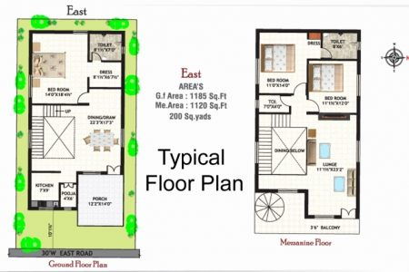 20*50 House Plan South Facing