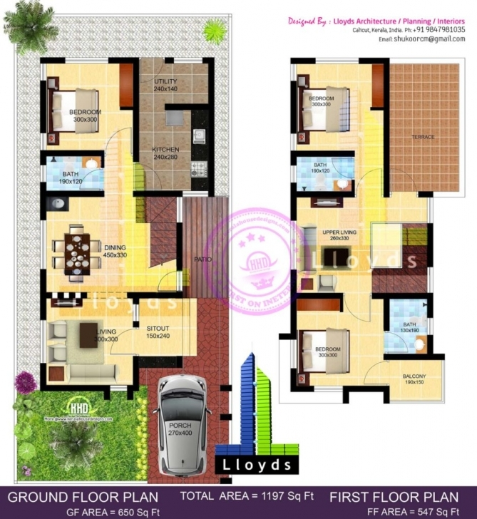 Picture of Home Design: Sq Ft Bedroom Villa In Cents Plot Kerala Home Design 20 20*50 3D House Plan Picture