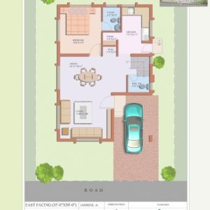 20*35 House Plan East Facing