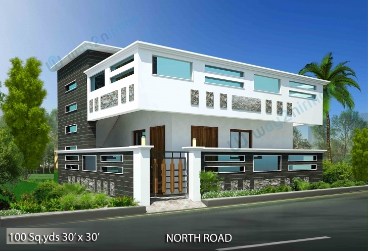 Popular 100-Sq-Yds-30X30-Sq-Ft-North-Face-House-1Bhk-Elevation-View House Front Elevation Designs For Single Floor North Facing Picture