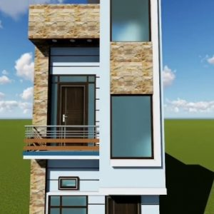 16*50 House Front Elevation