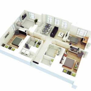 Simple One Story 3 Bedroom 3D House Plans