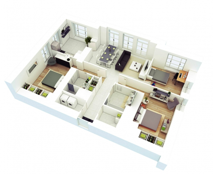 Popular 25 More 3 Bedroom 3D Floor Plans | 3D, Building And Bedrooms Simple One Story 3 Bedroom 3D House Plans Image
