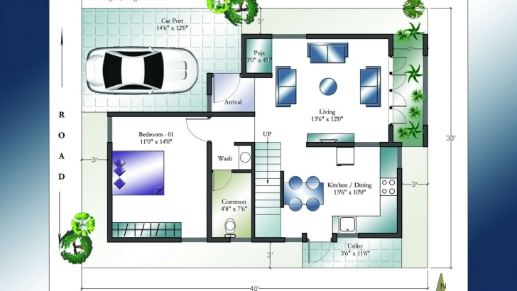 Popular 30 X 40 West Facing House Plans Everyone Will Like   Homes In Kerala 30X45 House Plan North Facing Picture