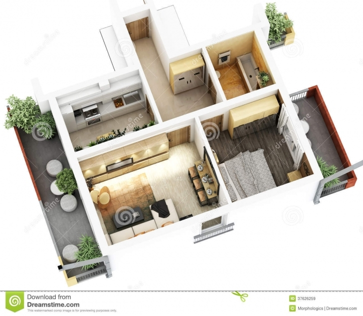 Popular 3D Floor Plan Stock Illustration. Illustration Of Design - 37626259 3D House Plan Images Free Image