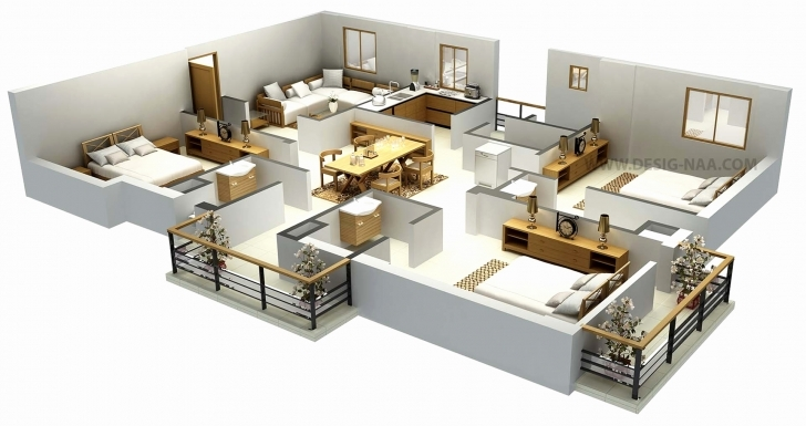 Popular 50 Lovely Pics Simple 5 Bedroom House Floor Plans - Home Inspiration Simple 4 Bedroom House Plans 3D Picture