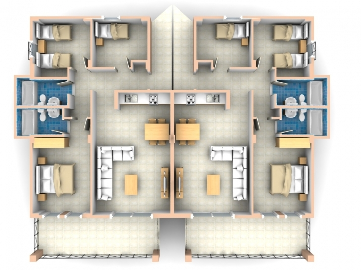Popular Bedroom Flat Floor Plan Apartment - House Plans | #1678 Three Bed Room Flat Image