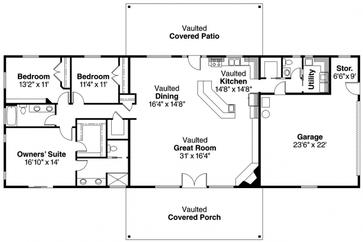 Popular Decor: Sophisticated Big 3 Ranch 3 Bedroom Rectangular House Plans Ranch 3 Bedroom House Plans Picture