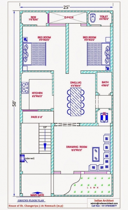 Popular Floor Plan Plans Modern House Map Design D X Sq Feet Throughout 25 House Map Design 25 X 50 Pic