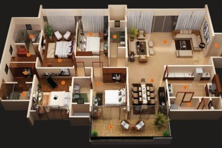 Simple House Plan With 6 Bedrooms 3D