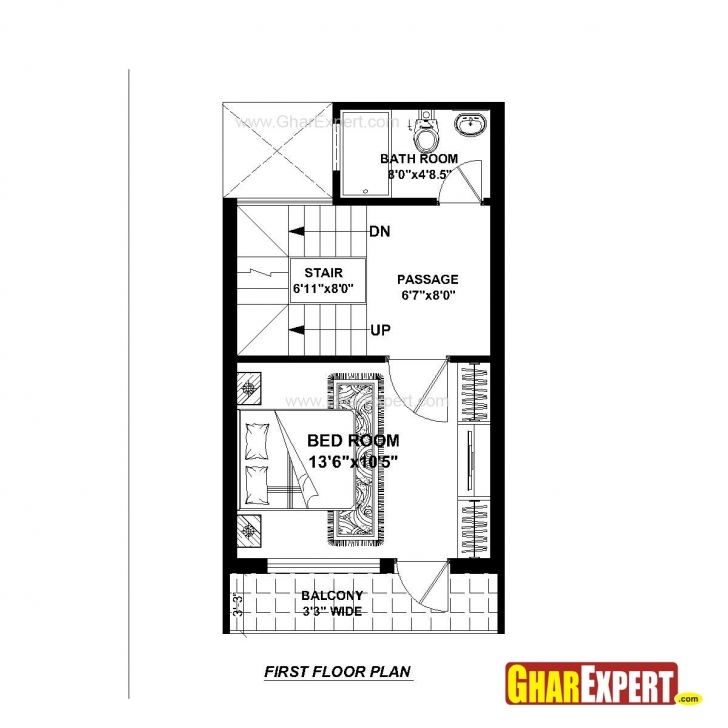 Popular House Plan For 15 Feet By 25 Feet Plot (Plot Size 42 Square Yards House Naksha Plot 15*50 Picture