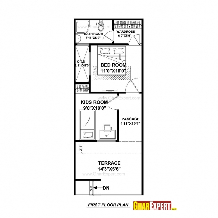 Popular House Plan For 15 Feet By 50 Feet Plot (Plot Size 83 Square Yards 15*50 House Map Image