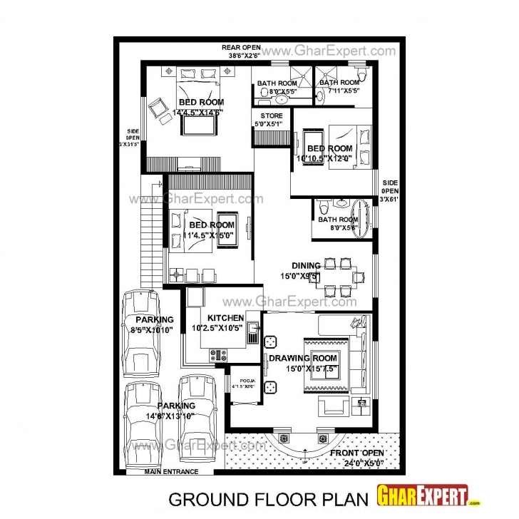 Popular House Plan For 40 Feet By 60 Feet Plot (Plot Size 267 Square Yards 3Bhk House Plan 35×40 Photo