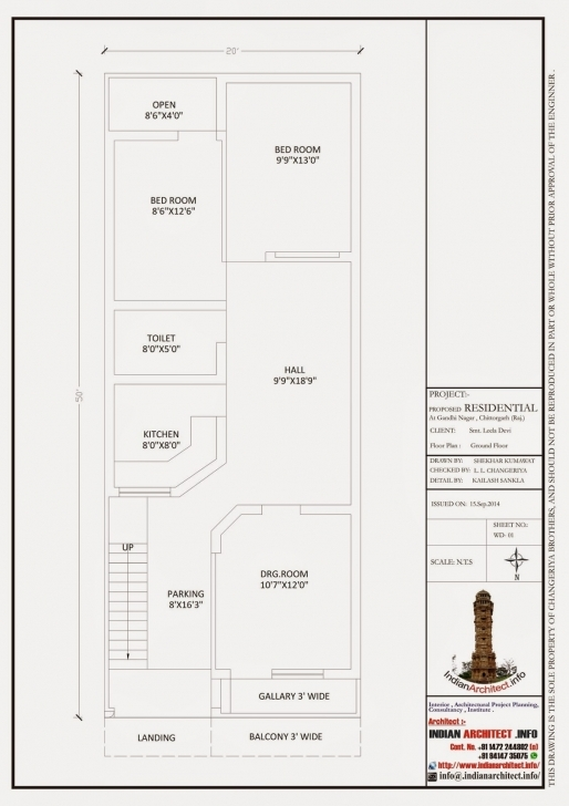 Popular Smt. Leela Devi House 20' X 50' 1000 Sqft Floor Plan And 3D House Plan 20 X 50 Sq Ft Image