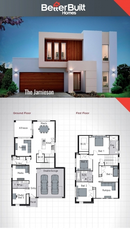 Popular The Jamieson: Double Storey House Design. 250 Sq.m – 10.9M X 16.6M Simple Storey On A Half Plot Pic