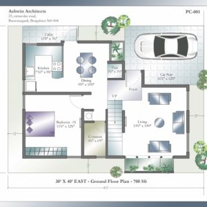 30 40 Duplex House Plans With Car Parking East Facing
