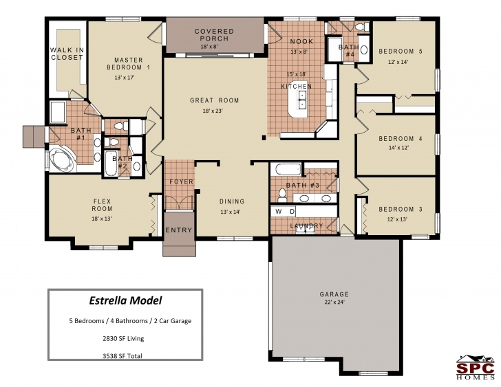 Remarkable 4 Bedroom Floor Plan 4 Bedroom Floor Plans One Story House 4 Bedroom Single Story House Floor Plans Image