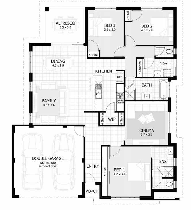 Remarkable Bedroom 3 Bedroom House Plans With Double Garage House Plan With 3 Bedroom House With Double Garage Image