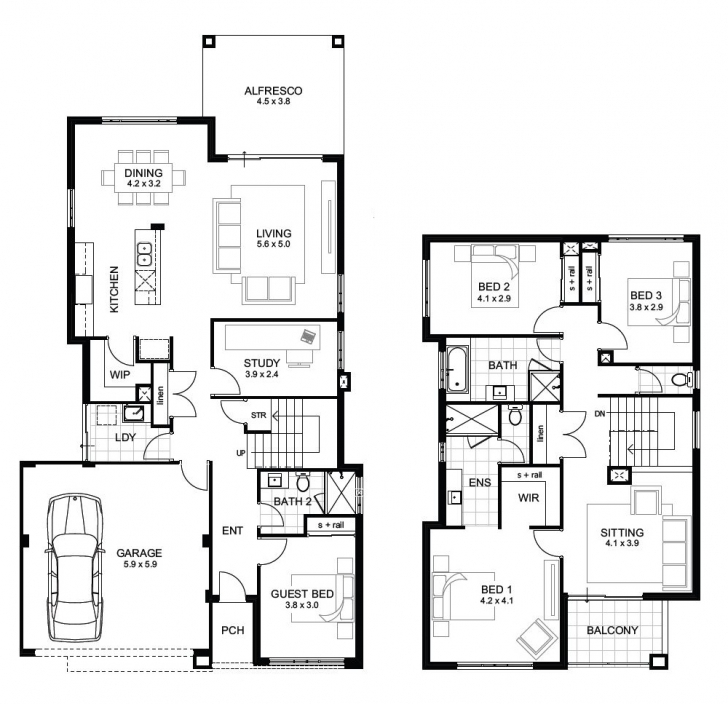 Remarkable Double Storey 4 Bedroom House Designs Perth | Apg Homes Simple 2 Floor 4Bed Room Full House Plan With Its Elevation Picture
