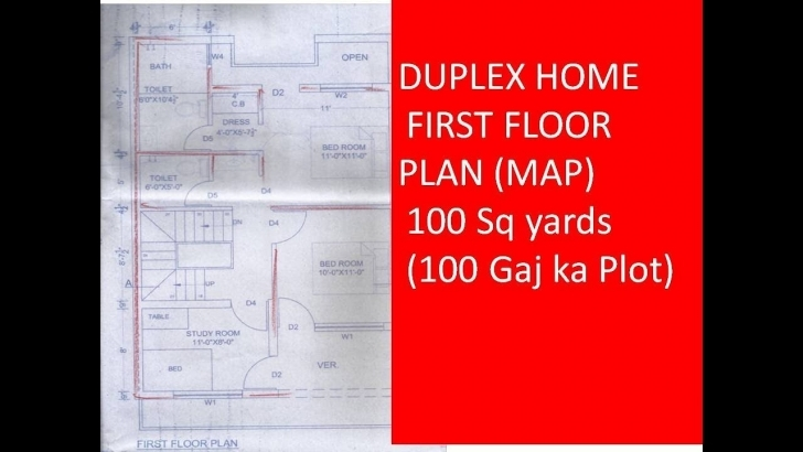 Remarkable Duplex Home First Floor Plan (Map) 100 Sq Yards (100 Gaj Ka Plot 30 By 50 5Room 2Kachan 1Garij Home Map Image